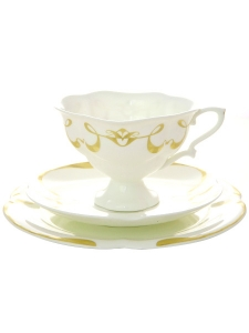 Imperial Porcelain Bone ChinaTea Set Cup 7.8 oz/220 ml, Saucer and Cake Plate Fiona