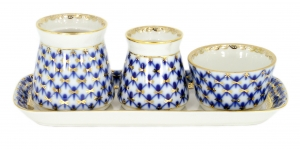 Lomonosov Imperial Porcelain Salt Pepper Spice Set 4 pc Cobalt Net