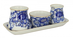 Lomonosov Imperial Porcelain Salt Pepper Spice Set 4 pc Singing Garden