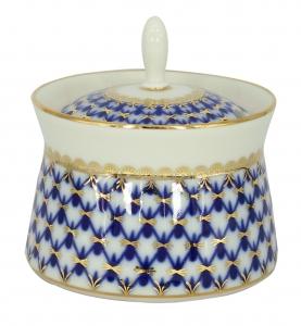 Lomonosov Imperial Porcelain Dressing Bowl Cobalt Net 6.8 fl.oz/200 ml