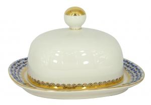 Lomonosov Imperial Porcelain Butter Holder Dish Cobalt Net