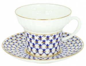 Imperial Porcelain  Bone China Tea Cup and Saucer Cobalt Net Wave 5,24 oz/155 ml