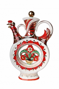 Lomonosov Imperial Porcelain Whiskey/Vodka Decanter Scarlet Flower 18.6 fl.oz/550 ml