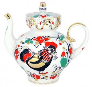 Lomonosov Imperial Porcelain Teapot Bud Rooster 11.8 oz/350 ml
