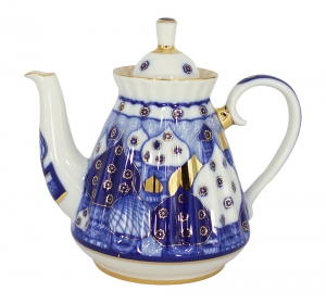 Lomonosov Imperial Porcelain Teapot Orthodox Church Bells 25 oz/750 ml