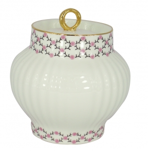 Lomonosov Imperial Porcelain Sugar Bowl Wave Pink Net 13.9 oz/390 ml
