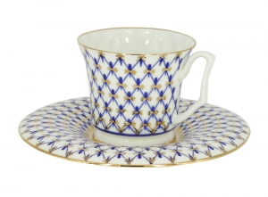 Lomonosov Porcelain Bone China Espresso Cup and Saucer Yulia Cobalt Net 4.9 fl.oz/145 ml