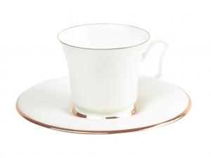 Lomonosov Bone China Porcelain Coffee Cup and Saucer Yulia Golden Ribbon 4.9 fl.oz/145 ml