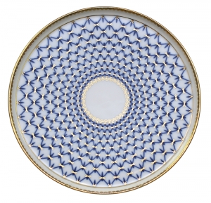 Lomonosov Imperial Porcelaine Round Cake Platter Dish Cobalt Net 11.8