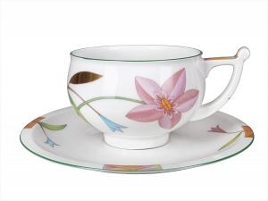 Lomonosov Imperial Porcelain Tea Set Cup and Saucer Kostroma Laurencia 10 oz/300 ml