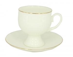 Lomonosov Porcelain Bone China Coffee Set Gold Edging Cup 5.41 oz/160 ml 2pc