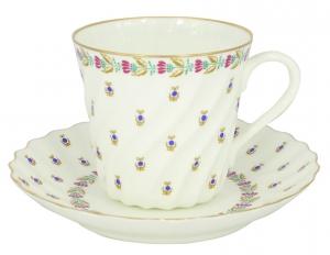 Lomonosov Porcelain Bone China Twist Tea Cup and Saucer Tiny Blue Berries 5.24 fl.oz/155ml
