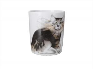 Porcelain Coffee Mug Snowy Morning Cat Max 12.8 fl.oz/380 ml