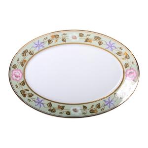 Imperial Porcelain Porcelain Oval Platter Jade Background 15.7