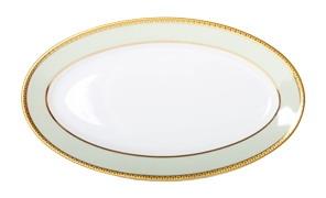Russian Porcelain Porcelain Oval Platter Jade Background 9.2