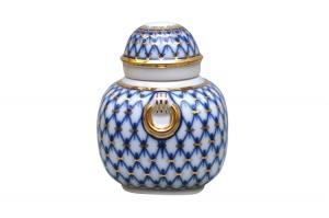 Lomonosov Imperial Porcelain Tea Holder Box Ring Cobalt Net 11.8 oz/350 ml