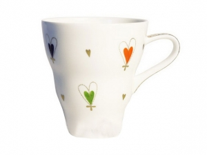 Bone China Porcelain Mug Wavy With Love 14.2 fl.oz/420 ml