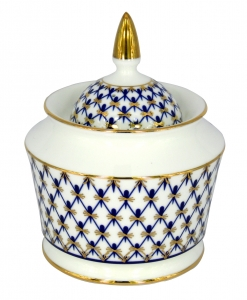 Lomonosov Imperial Porcelaine Sugar Bowl Yulia Cobalt Net 10.5 oz/310 ml