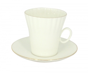Lomonosov Porcelain Porcelain Bone China Dandelion Coffee Cup and Saucer Golden Edge 5.9 oz/175 ml