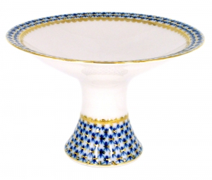 Lomonosov Imperial Porcelain Candy Vase Cobalt Net 7.3