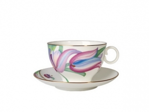 Lomonosov Bone China Porcelain Tea Set Apple Tea Cup and Saucer Lia 2pc 5.4 fl. oz/160 ml