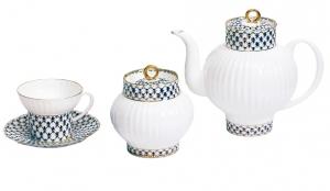 Lomonosov Imperial Porcelain Cobalt Net Wave Bone China Tea Set 15pc