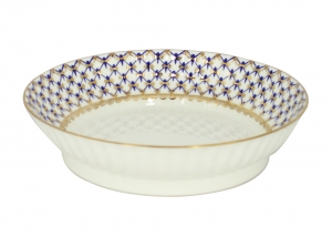 Lomonosov Imperial Porcelain Cake Сookie Biscuit Pastry Dish Wave Cobalt Net 6.7