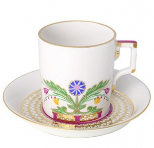 Imperial Lomonosov Porcelain Tea Cup with Saucer Moscow River 7.4 oz/220 ml