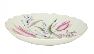Lomonosov Imperial Porcelain Cake Сookie Biscuit Pastry Dish Pink Tulips 8.5