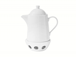Lomonosov Porcelain Tea Pot Optima White 40.6 fl.oz/1200 ml with Heater Stand