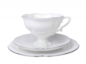 Lomonosov Bone China Tea Set Cup 7.8 oz/220 ml, Saucer and Cake Plate Natasha Platinum Ribbon 3pc