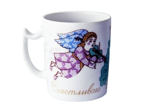 Lomonosov Porcelain Mug Snowy Morning Christmas Angel 12.8 fl.oz/380 ml