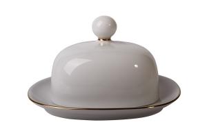 Lomonosov Imperial Porcelain Butter Holder Dish Golden Ribbon