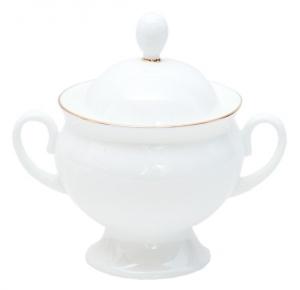 Lomonosov Imperial Porcelaine Bone China Sugar Bowl Classic-2 Golden Edge 5.9 fl.oz/175 ml