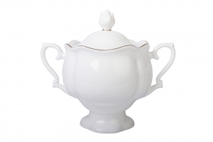 Lomonosov Imperial Porcelaine Sugar Bowl Natasha Golden Ribbon 10.4 oz/300 ml