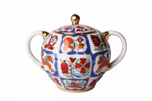 Lomonosov Imperial PorcelaineTulip Sugar Bowl Russian Lubok 15 oz/450 ml