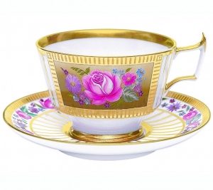 Imperial Lomonosov Porcelain Espresso Coffee Set Cup and Saucer Alexandria Recollection 6.8 oz/200 ml