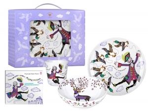 Lomonosov Porcelain Baby Set 3pc: Cup, Plate and Bowl Baron Munchausen