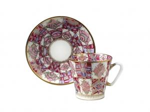 Lomonosov Porcelain Bone China Cup and Saucer Pink Pattern 2.71 fl.oz/80 ml