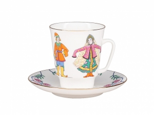 Lomonosov Porcelain Bone China Cup and Saucer May Ballet Little Humpbacked Horse 5.6 fl.oz/165 ml 3 pc