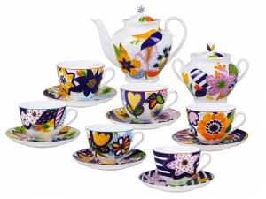Lomonosov Porcelain Tea Set for 6 persons 14 items Summer Bouquet
