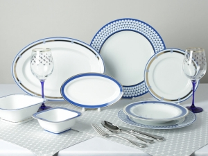 Lomonosov Porcelain Dining Set Service 24 items for 6 people European White Sea