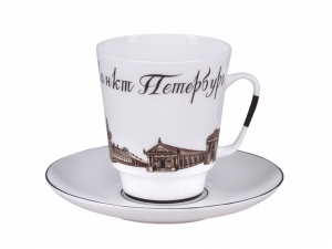 Lomonosov Porcelain Bone China Espresso Cup Set Petersburg (3) 5.6oz/165ml