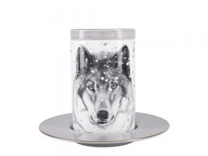Lomonosov Porcelain Mug and Saucer Totem WOLF