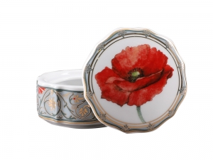 Lomonosov Porcelain Treasure Jewellery Round Box Poppy