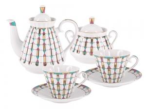 Lomonosov Imperial  Porcelain Tea Set Geometry 6/14