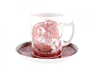 Lomonosov Porcelain Coffee Mug and Saucer Men's Stories Knight 12.8 oz