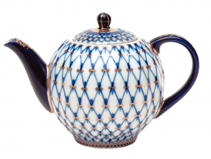 Porcelain Teapot Tulip Cobalt Net 10 Cups 67 oz/2000 ml