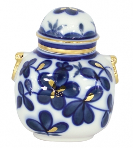 Lomonosov Imperial Porcelaine Tea Holder Box Ring Cobalt Garden