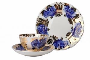 Lomonosov Porcelain Tea Set Tulip Golden Garden Cup with Saucer and Cake Plate